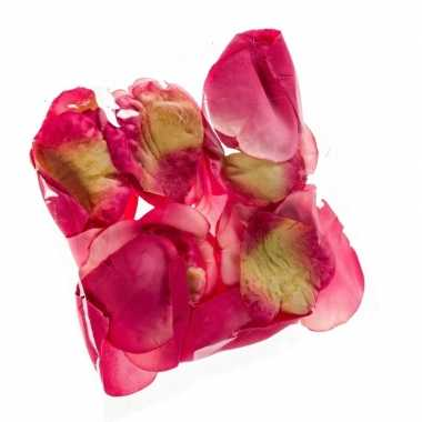 36x kunstroos/kunstbloem donker roze rozenblaadjes versiering voor va