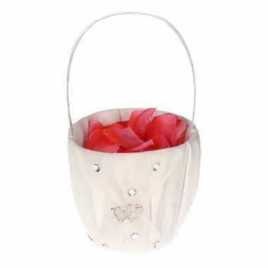 Bruidsmeisje accessoires mandje met rozenblaadjes 10107779