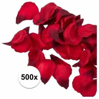 Bruiloft decoratie rode rozenblaadjes 500 stuks