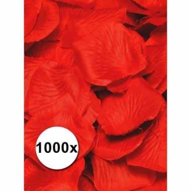 Rode rozenblaadjes van stof 1000 st