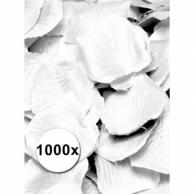 Witte rozenblaadjes van stof 1000 st