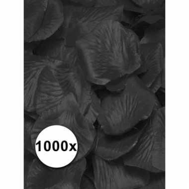 Zwarte rozenblaadjes van stof 1000 st