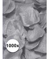 Zilveren rozenblaadjes van stof 1000 st